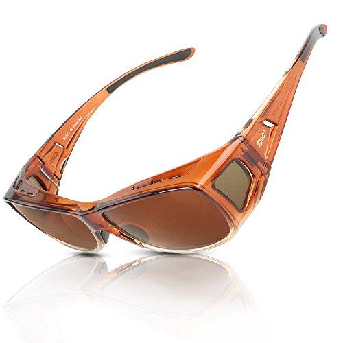 Duco Herren und Damen Sonnenbrillen Polarisiert Unisex Brille Überbrille für Brillenträger Fit-over Polbrille 8953 M - Braun, Braun