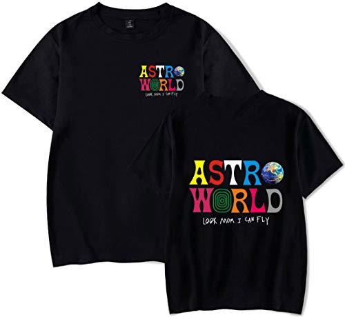 PANOZON Camiseta Hombre Impresión de Travis Scott Astroworld T-Shirt Básico Top Unisex Manga Corta Estilo Casual