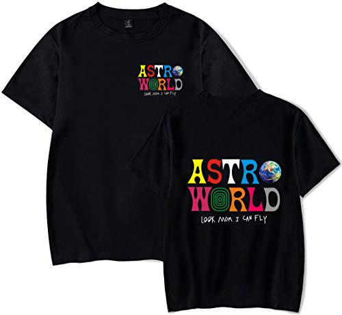 PANOZON Herren Casual T-Shirt mit ASTROWORLD Druck Travis Scott Hip Hop Tops Aschwarz11627 M