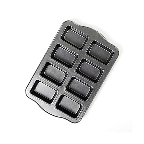 Non-Stick Mini Loaf Pan Cake Bread Baking Tray Carbon Steel Bakeware 8-Cavity (Gray)