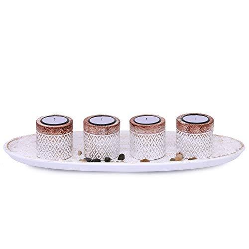 Flanacom Teelichthalter Kerzenhalter mit Dekoschale aus Holz - als Tischdeko für Flur, Wohnzimmer, Garten oder Balkon - Moderne Dekoration Wohnung - Wohnaccessoires (Design 1)