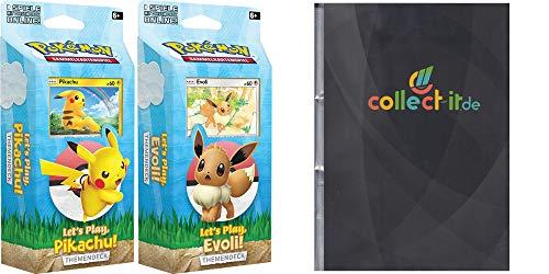 Unbekannt Let's Play Themendecks - 2 Themendecks (Pikachu + Evoli) + Collect-it.de 9-Pocket Album mit 30 Seiten in schwarz (540 Karten) - Deutsch