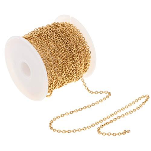 IPOTCH 1 Rolle Schmuckdraht Edelstahl Kabel Kette für Schmuck Halskette Fußkettchen DIY Herstellen - Gold 2,2 mm 1