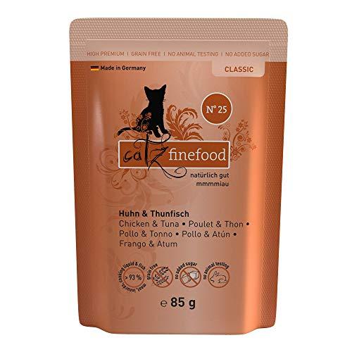 catz finefood N° 25 Huhn & Thunfisch Feinkost Katzenfutter nass, verfeinert mit Kürbis & Hagebutte, 16 x 85 g Beutel
