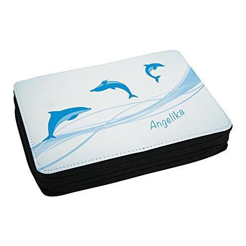 Eurofoto Schul-Mäppchen mit Namen Angelika und schönem Delfin-Motiv für Mädchen inkl. Stifte, Lineal, Radierer, Spitzer