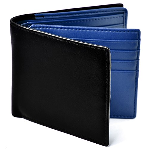 Le sourire 二つ折り 財布 本革 大容量 カード 18枚収納 新設計のボックス型小銭入れ メンズ (ブラック×ブルー)