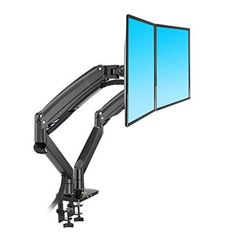 WWZZ Aluminio 22-32 Pulgadas Dual LCD LED Montaje Montaje de Gas Resorte de Resorte Soporte de Pantalla dinámica Completa, Cada Carga admite un Soporte de 3-12 kgs (Color : Black)