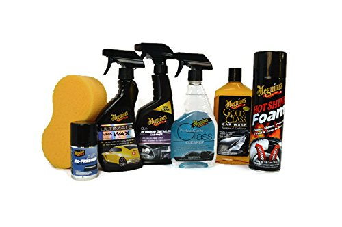 Meguiar's 7-Piece Ultimate Car Care Set (Full Sized Products) with Hot Shine, Ultimate Quik Wax, Interior Detailer, Gold Class Car Wash, Window Cleaner & More