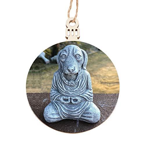 Baoblaze Resina Meditazione Buddha Auto Cane di Fascino, Yoga Zen Koan Monaco Appeso Ornamento Accessori - Stile 02