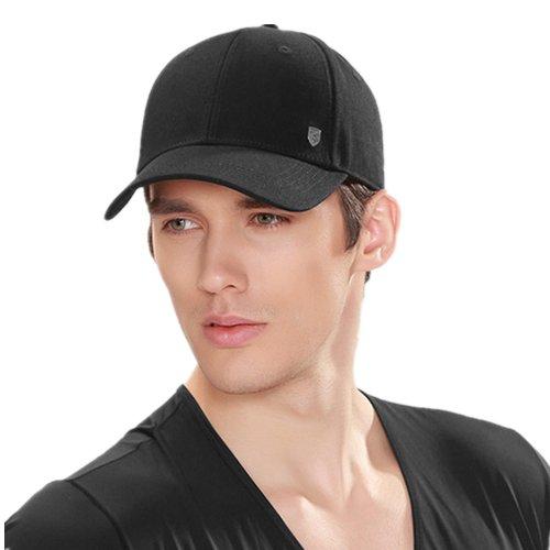 Kenmont Sommer Männer Baseball Cap 100% Baumwolle Einfarbig Visier Golf Hut (XL-61CM(24.02inches), Schwarz)