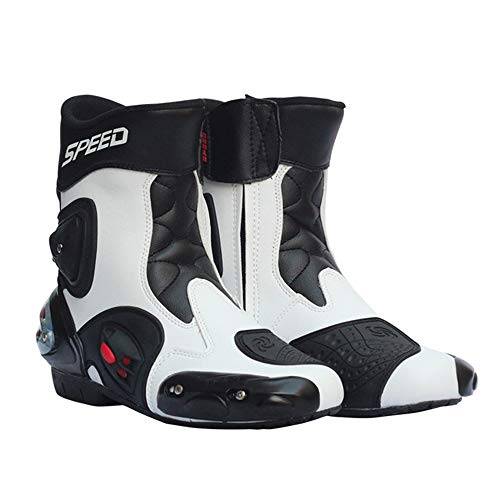 MRDEAR Motorradstiefel Kurz, Motorradschuhe Herren & Damen Motocross Stiefel Cross Stiefel Herren Wasserdicht Touren Racing Sportstiefel, Leder/Textil, Weiß (39 EU)