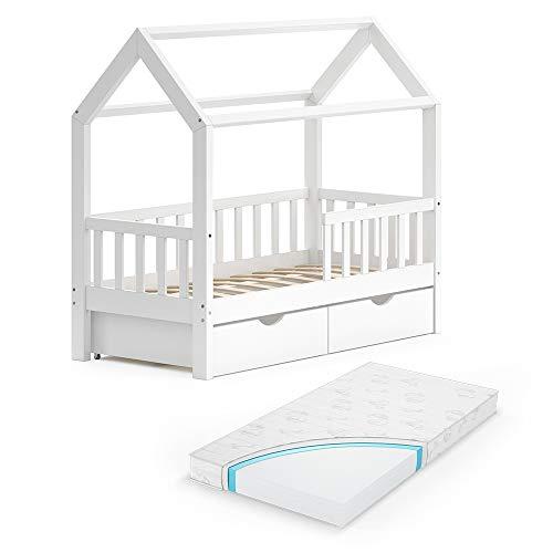 VitaliSpa Kinderbett Hausbett Spielbett Wiki 70x140 inkl Lattenrost (Weiß, mit Schubladen & Matratze)