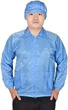 DealMux Mujeres Hombres Manguito elástico azul Patch Bolsillos anti estática ESD Lab Coat delantal de L