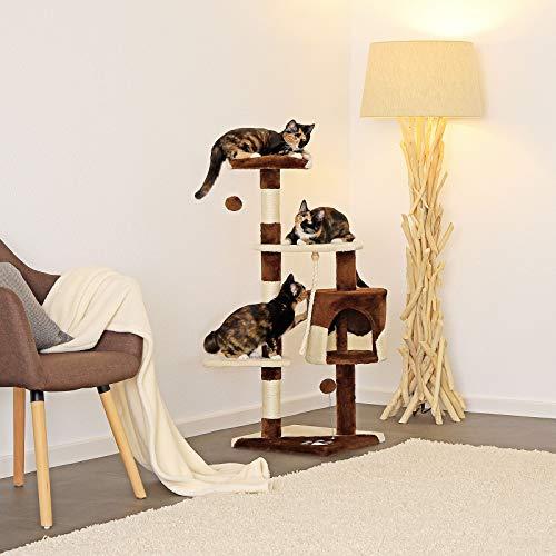 Katzenkratzbaum, Kratzbaum für Katzen 112 cm Höhe (braun / beige) - 3