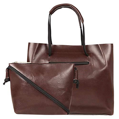Don Cavalli Women's PU Leather Handbag (HB011, Dark Brown)
