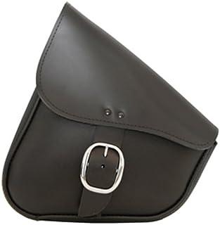 Dowco Willie & Max 59823-00 Triangulated Leather Motorcycle Swingarm Bag: Chrome Buckle, Black, 9 Liter Capacity