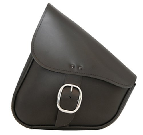 Dowco Willie & Max 59823-00 Triangulated Leather Motorcycle Swingarm Bag: Chrome Buckle, Black, 9 Liter Capacity
