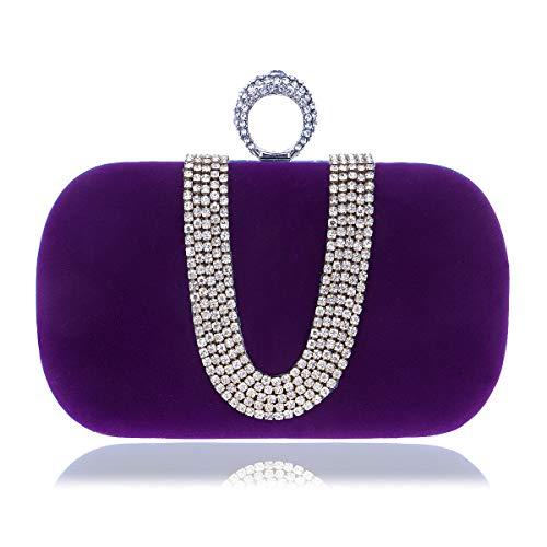 Mubolin Bolsa de noche con cierre de anillo de diamantes de imitación de cristal de embrague para fiesta de boda (color púrpura)