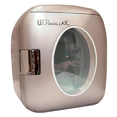 Uber Appliance UB-XL1 Uber Chill Mini Fridge 12 can retro portable Thermoelectric Cooler and Warmer mini fridge outdoor 12v 110v portable cooler or indoor for bedroom, office or dorm (Gun Metal silver
