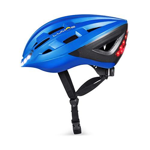LUMOS Kickstart Lite Smart Helmet (Chromium Blue) | Bike Accessories | Adult: Men, Women | Front and Rear LED Lights | Bluetooth Connected