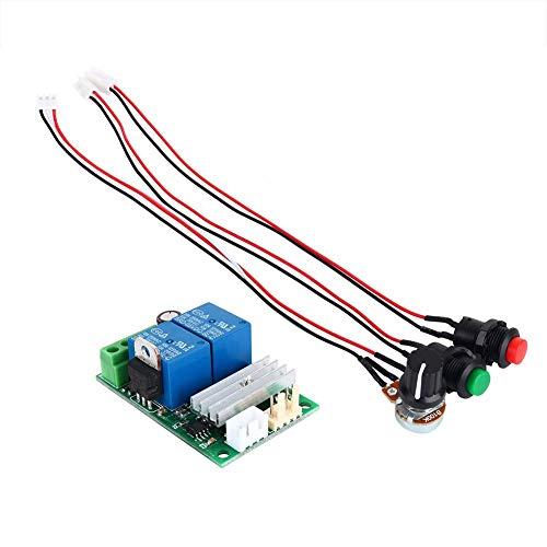 Akozon Controlador de velocidad del motor Interruptor de botón reversible ajustable de velocidad PWM Inversión del controlador de motor de CC DC6V 9V 12V 24V 3A