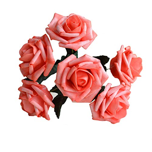 Wedding Flowers Coral Artificial Flowers Real Like Coral Roses 72 stems For Wedding Bouquet, Wedding Party Decoration, Table Centerpieces