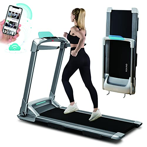 OVICX Q2S Folding Portable Manual Treadmill Compact Walking Running Machine for Home Gym Workout Electric Treadmills with LED Display Decice Holder Treadmill for Small Spaces