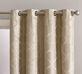 HLC.ME Versailles Lattice Flocked 100% Complete Blackout Thermal Insulated Window Curtain Grommet Panels - Energy Savings & Soundproof for Living Room & Bedroom Set of 2  50 x 54 inches Long Taupe