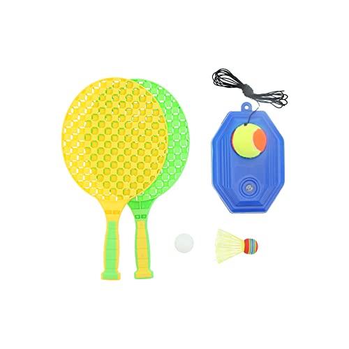 Sxhlseller Kit de Entrenamiento de Tenis, Herramientas de práctica Individual para Tenis de Mesa/bádminton Adecuado para Parques, garajes, sótanos, Salas de Fitness