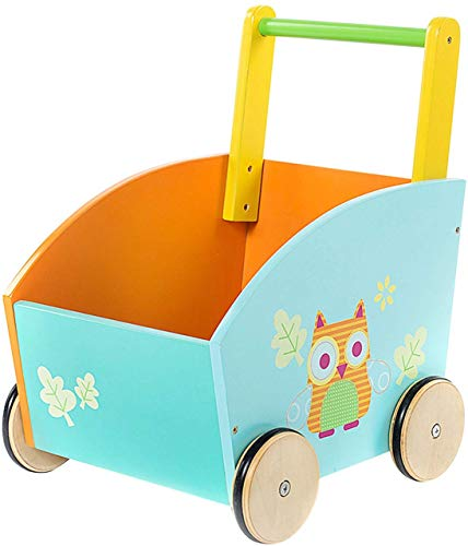 labebe - Baby Walker, Kid Shopping Cart Walker, Push Toy for 1-3 Years Old, Infant Wooden Walker, Sit to Stand Learning Walker, Toddler Outdoor Activity Walker, Children Walker Toy with Wheels - Owl