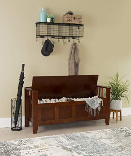 Linon Home Decor Storage Bench with Short Split Seat Storage, Walnut New Mexico