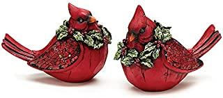 Set of 2 Christmas Red Cardinal Bird Figurines with Mosaic Glass Insert on Wings