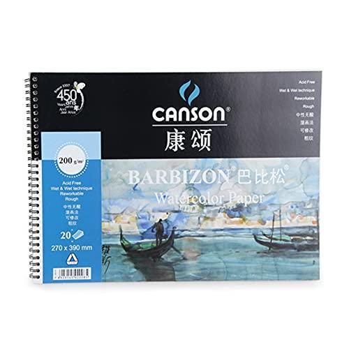 Festnight Canson Barbizon acuarela libro bobina sellador de cuatro lados acuarela papel pintura cuadro libro pintura viaje cuaderno de bocetos