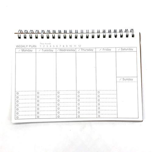 Cuadernos de diario en blanco de papel rayado plan Calendario Diario Planificador Bloc de notas, Lista de verificación Organizador diario, Tiempo de gestión Manual Horario Agenda Agenda pequeña Paquet