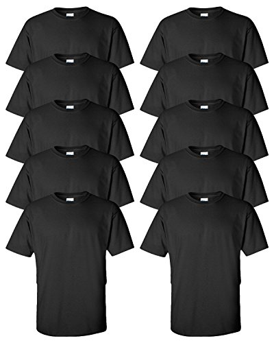 Gildan Adult Ultra Taped Neck Preshrunk Jersey T-Shirt, Black, 4XL. ( Pack10 )