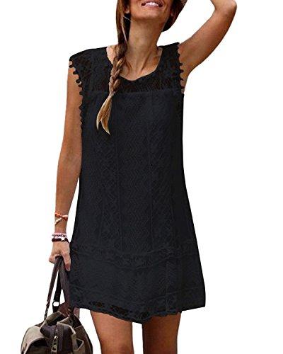 YOINS Femme Mini-robe d'été chic en dentelle à col rond, Noir, taille- 44 EU/ 2XL