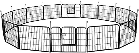 YAHEETECH 24-inch Tall Heavy Duty Metal Pet Dog Puppy Cat Exercise Fence Barrier Playpen Kennel, 16 Panels