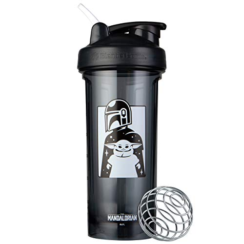 BlenderBottle Star Wars Shaker Bottle Pro Series, Perfect for Protein Shakes and Pre Workout, 28-Ounce Mandalorian & Child