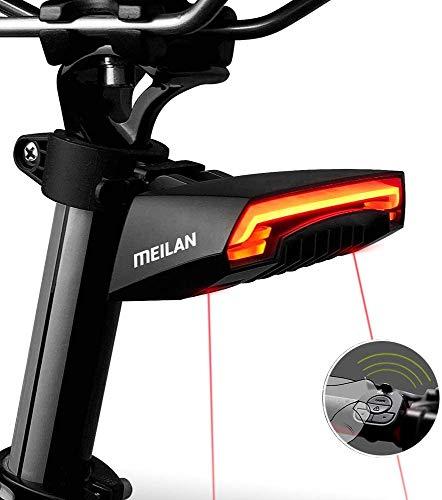 MEILAN X5 自転車テールライト リアライト バイク自動点滅 自動点灯 サイクリングの安全警告ライト ターン信号 自動ブレーキ感応 ワイヤレスリモコン 環境光センサー セーフティライト ロードバイクライト 方向指示器 USB充電式 防水式 昼夜通用 夜間走行 サイクル用