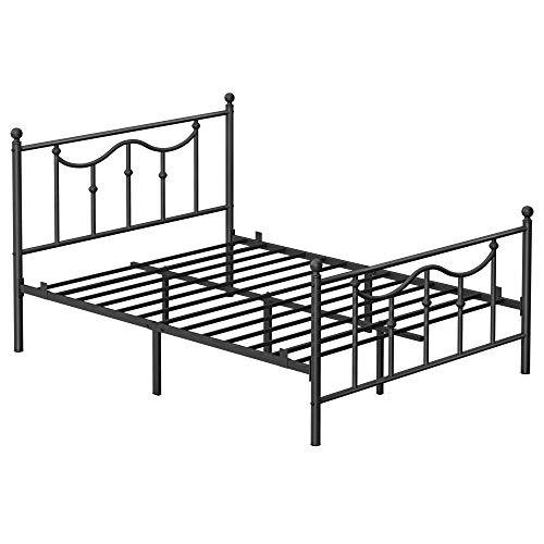 VASAGLE Queen Size Metal Bed Frame with Headboard, Footboard, No Box Spring Needed Platform Bed, Under-Bed Storage, Victorian Vintage Style, Black URMB084B01