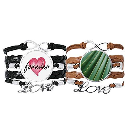 DIYthinker Green Leaf Plant Naturaleza Fotografía Pulsera Correa de mano Cuerda de cuero Forever Love Wristband Set doble