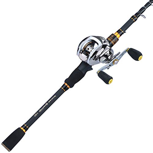 Sougayilang Fishing Baitcaster Combos, Lightweight Baitcasting Combo Fishing Rod and 9+1BB Fishing Reel for Travel Saltwater Freshwater for Beginner—5.9FT Rod and Right Hand Reel