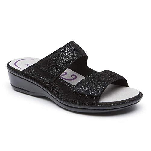 Aravon Women's Cambridge 2 Strap Sandal, Black, 9 B US