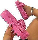 LONGJIQ Pantoufles de la Plate-Forme de Mode Bandes de Bracelet PU Pippers en Cuir PU été en Plein air pour Femmes-Rose_42 Fantastic