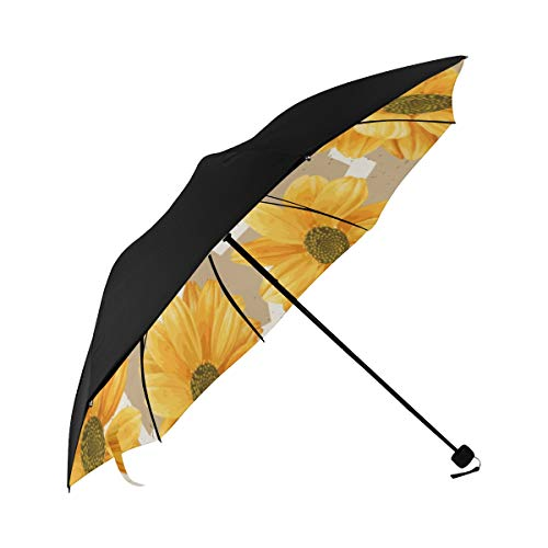 Best Foldable Umbrella Yellow Chrysanthemum Flowers Underside Printing Foldable Rain Umbrella Foldable Umbrella Stroller With 95 Uv Protection For Women Men Lady Girl