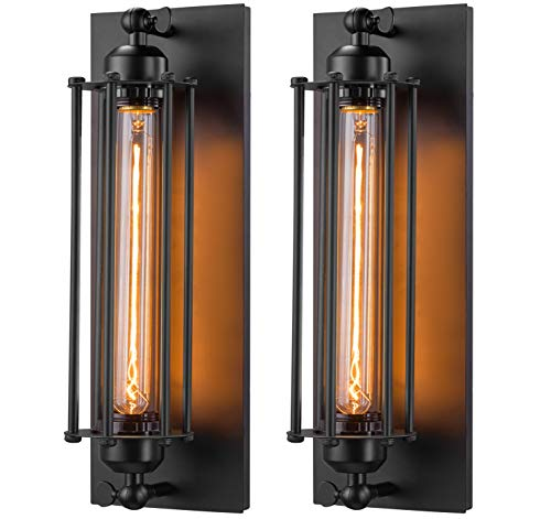 Licperron Sconces Wall Lighting, Industrial Wall Sconces Set of Two, Antique Wall Light Fixtures for Bedside, Bar, Theater, Restaurant, Hallway, Indoor&Outdoor Lighting Decor, E26 & E27