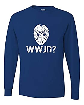 Go All Out XXX-Large Royal Adult WWJD What Would Jason Do? Funny Horror Movie Long Sleeve T-Shirt