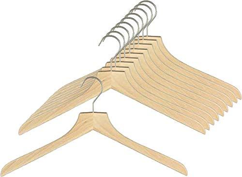 MAWA Kleiderbügel aus Holz, 10 Stück, hochwertiger Holzbügel und Garderobenbügel für Jacken, Mäntel Pullover und mehr, 360° drehbarer Haken, Kleiderbügel aus Buchenholz 45 cm, Natur