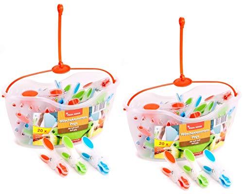 2er Pack Wäscheklammerkörbchen mit je 20 SoftGrip Wäscheklammern - 2 Körbe mit Aufhängung - Insgesamt 40 Wäscheklammern