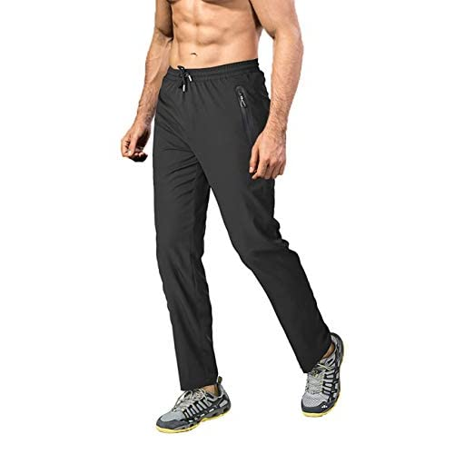 EKLENTSON Men's Lightweight Walking Trousers Casual Track Pants with Stretch Quick Dry Zipper Hiking Trousers with…